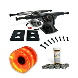 LONGBOARD Skateboard TRUCKS COMBO set w: LED light up WHEELS + trucks Package by Yocaher