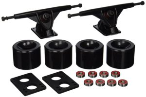 Longboard 180mm Trucks + 70mm Wheels + Bearings Combo (Solid Black)