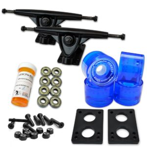 LONGBOARD Skateboard TRUCKS COMBO set w: 71mm WHEELS + 9.675 Polished : Black trucks Package by YOCAHER