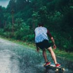 longboard in the rain